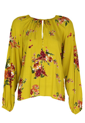 Bluza Stradivarius Floral Dark Yellow