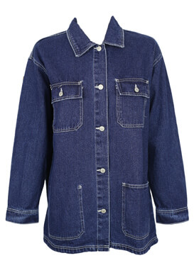 Geaca blugi Pull and Bear Mary Dark Blue
