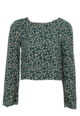 Bluza Pull and Bear Floral Dark Green