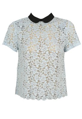 TRICOU ZARA LACE LIGHT BLUE