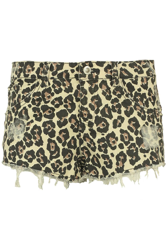 Pantaloni scurti Bershka Leopard Beige