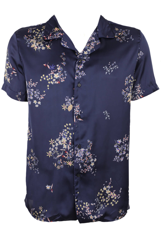 Camasa ZARA Floral Dark Blue