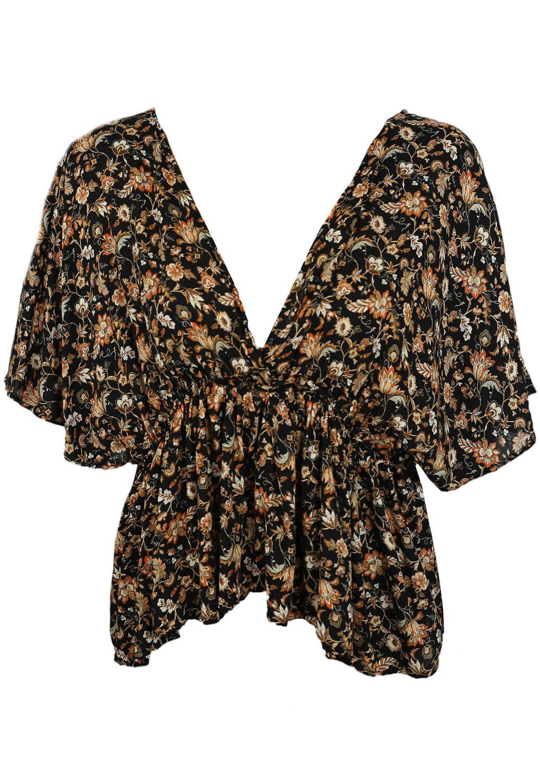 Tricou ZARA Floral Black