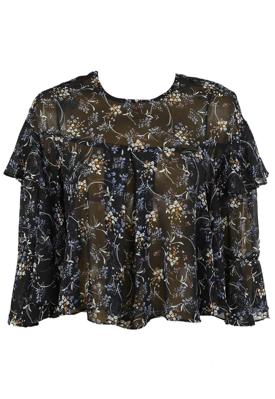 Bluza ZARA Floral Black