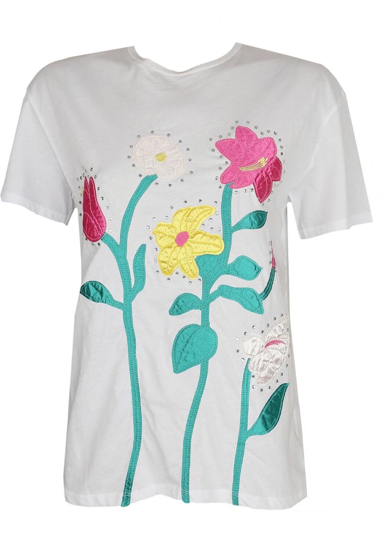Tricou ZARA Floral White